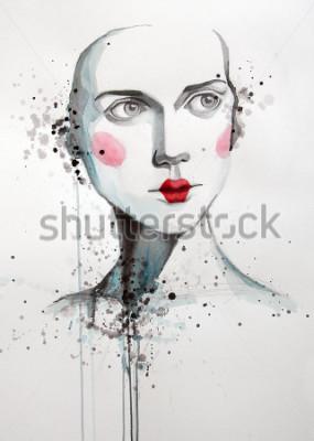 Obraz akwarela portret piękna kobiety   ręcznie   self made   obraz