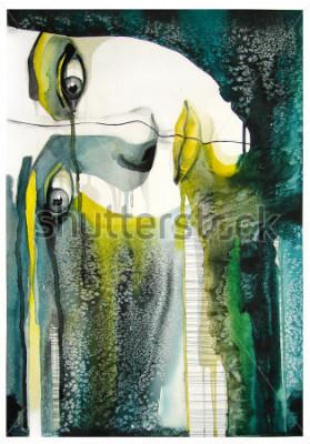 Obraz akwarela portret pięknej dziewczyny   ręcznie   self made   obraz