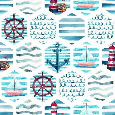 Obraz Akwarela przygoda bez szwu deseń w patchwork morskich stylu.