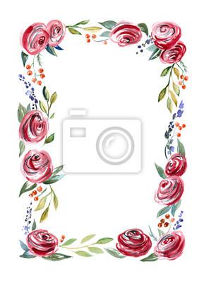 akwarela. Rama z czerwonych róż i zielonych liści na białym tle.