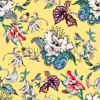 Obraz Akwarela ręcznie rysowane wzór z tropikalnych letnich kwiatów i egzotycznych ptaków na żółtym tle