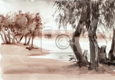 Akwarela riverscape