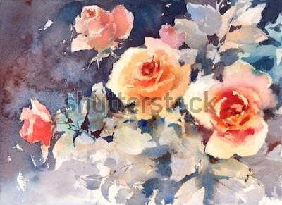 Obraz Akwarela róże kwiaty kwiatowy tło tekstura ręcznie malowane