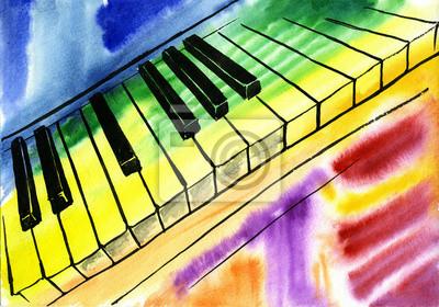 akwarela, rysunek fortepianu