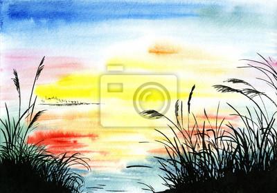 akwarela, rysunek krajobraz