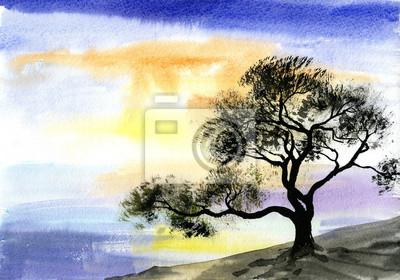 Obraz akwarela, rysunek krajobrazu - drzewo w pobliżu rzeki