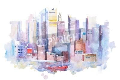 Obraz akwarela rysunek pejzaż Nowy Jork, USA. Manhattan malowanie akwarela.