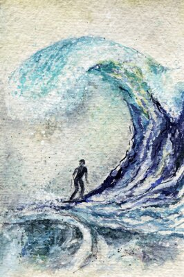 Obraz akwarela surfer i duża fala. Streszczenie surfowania człowiek