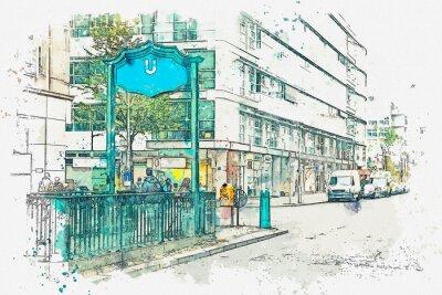 Obraz Akwarela szkic lub ilustracja. Berlin. Znak wejścia do metra. Podziemna stacja metra.