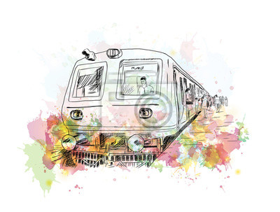 Obraz Akwarela szkic Mumbai lokalnego pociągu w ilustracji wektorowych.