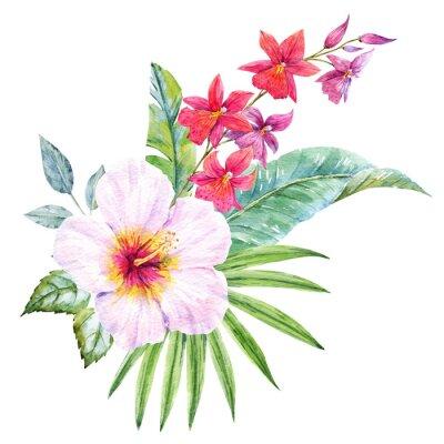 Obraz Akwarela tropikalne bukiet