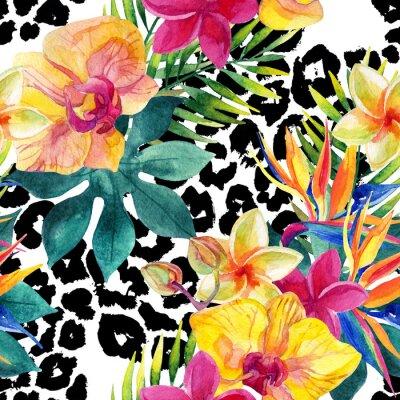 Obraz Akwarela tropikalne kwiaty i liście na druku zwierząt