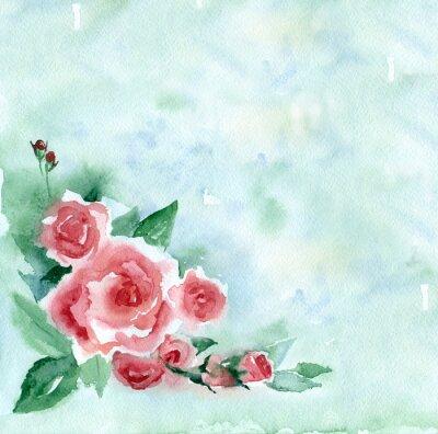 Obraz akwarela. Vintage bukiet czerwonych róż na zielonym tle rozmazany.