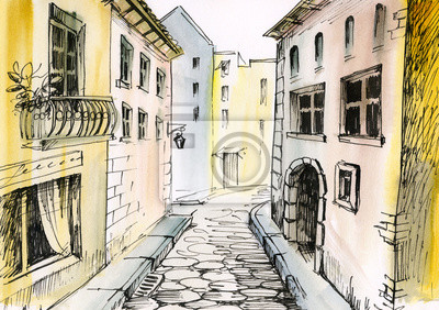Akwarela wąskiej ulicy, architektury