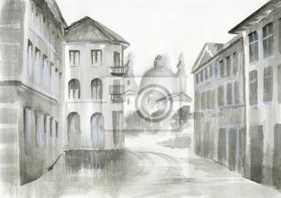akwarela - widok na piękny budynek, przytulny ulicy
