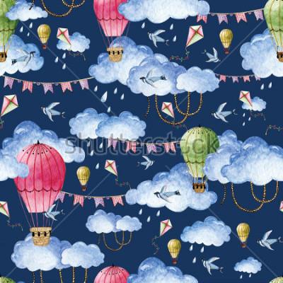 Obraz Akwarela wzór z balonami i chmurami