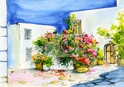 akwarela z bukietem kwiatów w doniczkach na oknie