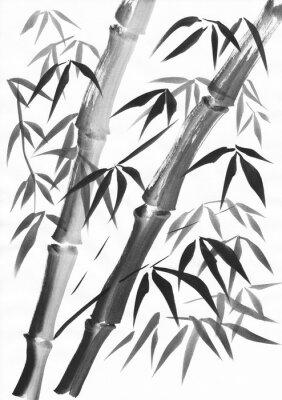 Obraz Akwarela z dwóch bambusa łodygi malowane grunge udaremnienia. Czarny gwasz na papierze białym.