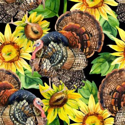 Obraz Akwarela z indyka z słoneczniki szwu
