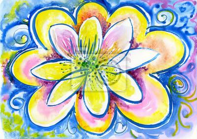 akwarela z kwiatem