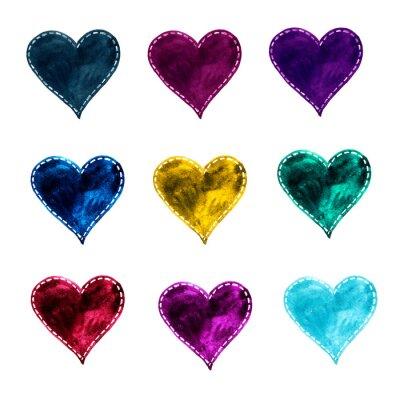 Akwarela zestaw kolorowych serc. Akwarela do zaproszeń, kart okolicznościowych i projektowania.