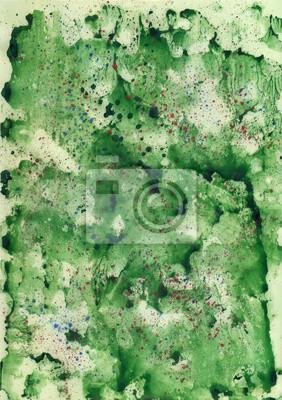 Akwarela zielonym tle z czerwonym sprayem.