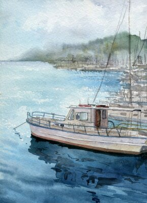 Obraz Akwarele krajobraz morze z łodzi