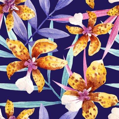 Obraz Akwarele orchidea kwiaty tropikalnych wzorca