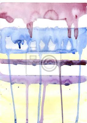 Akwarele tła. Niebieski, fioletowy i listwy kapie farby