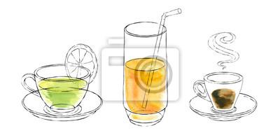 Akwarele w kubki napoje, herbaty szkła, sok, kawa. Akwarela.
