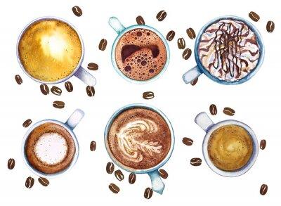 Obraz Akwareli filiżanki kawy, odizolowywać na białym tle z kawowymi fasolami, odgórny widok.