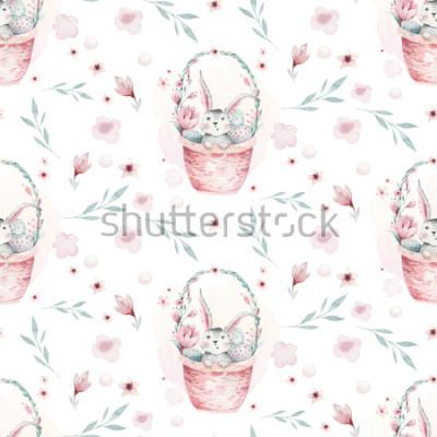 Obraz Akwareli wiosny ilustracja śliczny Easter dziecka królik. Królik kreskówki zwierzęcy bezszwowy wzór z koszem