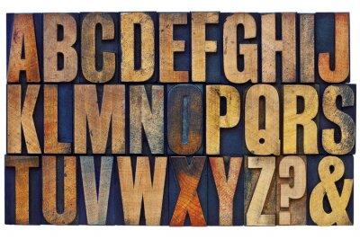 Obraz alfabet drewna zabezpieczające typu bloki
