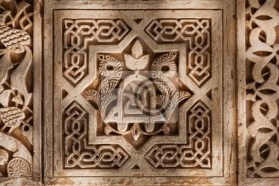 Alhambra de Granada. Arabski zwolnienie szczegółów w Nasrid pałace
