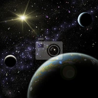 Obraz Alien Planet z dwóch satelitów w przestrzeni kosmicznej.