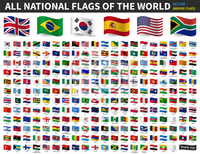 Obraz All national flags of the world . Waving flag design . Vector .