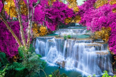 Obraz Amazing in nature, beautiful waterfall at colorful autumn forest in fall season