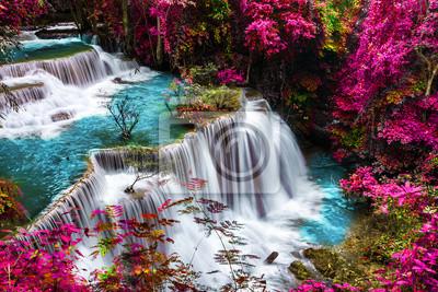 Obraz amazing of huay mae kamin waterfall in colorful autumn forest at Kanchanaburi, thailand