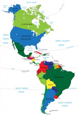 Obraz Ameryka Północna i Południowa na mapie