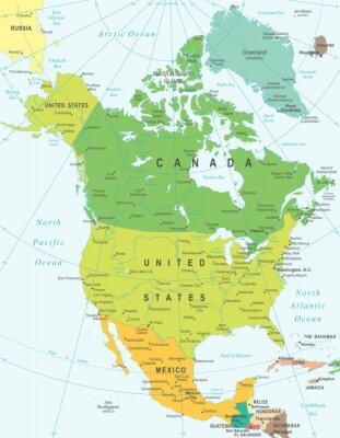 Obraz Ameryka Północna mapę - bardzo szczegółowe ilustracji wektorowych.