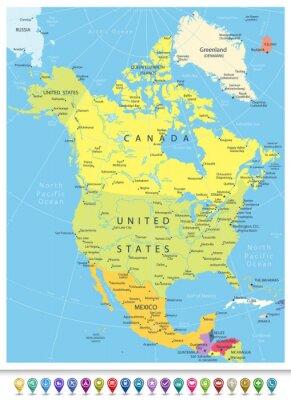 Obraz Ameryka Północna Szczegółowa mapa polityczna z ikonami nawigacji