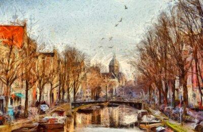 Obraz Amsterdam kanał w porannej malarstwa impresjonistycznego