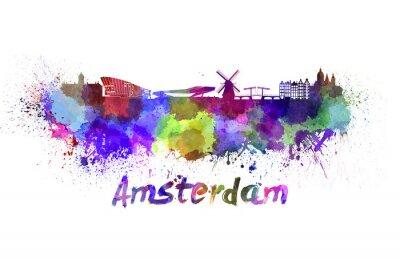 Obraz Amsterdam Skyline w akwareli