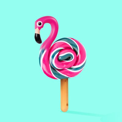 Obraz An alternative sweets. Candy as a flamingo on the wooden stick on blue background. Negative space to insert your text. Modern design. Contemporary art. Creative conceptual and colorful collage.