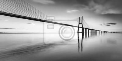 Obraz An black and white vision of the bridge Vasco da Gama