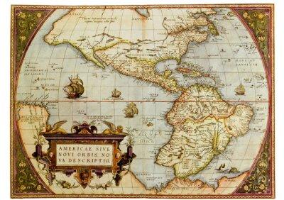 Obraz Ancient map of the Americas. Zdjęcie ze starych reprodukcji