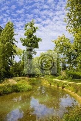 Angielski ogród i rzeka w Versailles Chateau, Francja