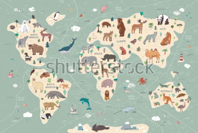 Obraz Animals on world map illustrations  hand drawn vector set