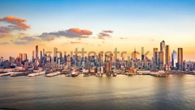 Obraz Antena panorama wieżowców Manhattanu w słoneczne popołudnie