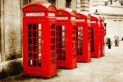 Obraz Antik texturiertes Bild Roter Telefonzellen w Londynie